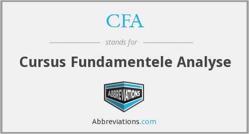 CFA - Cursus Fundamentele Analyse