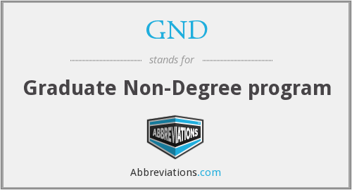 GND - Graduate Non-Degree program