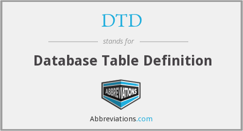 DTD - Database Table Definition