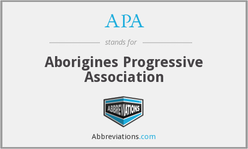 APA - Aborigines Progressive Association