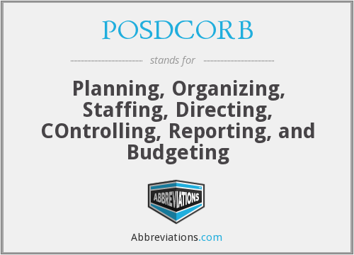 What does POSDCORB stand for?