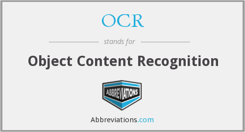 OCR - Object Content Recognition
