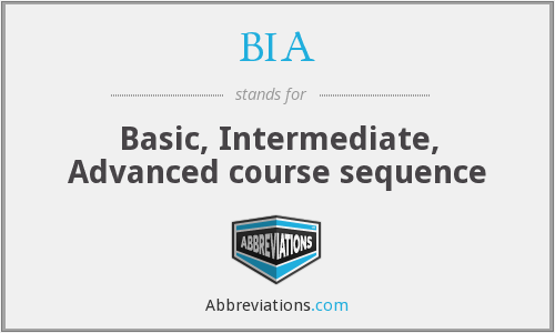 BIA - Basic, Intermediate, Advanced course sequence
