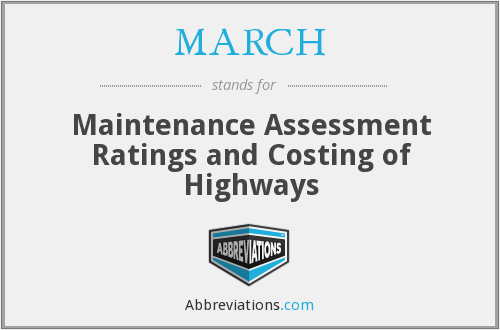 MARCH - Maintenance Assessment Ratings and Costing of Highways