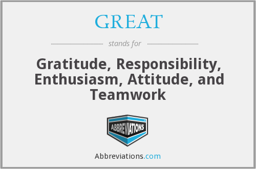 GREAT - Gratitude, Responsibility, Enthusiasm, Attitude, and Teamwork