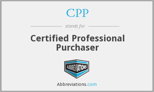 CPP - Certified Professional Purchaser