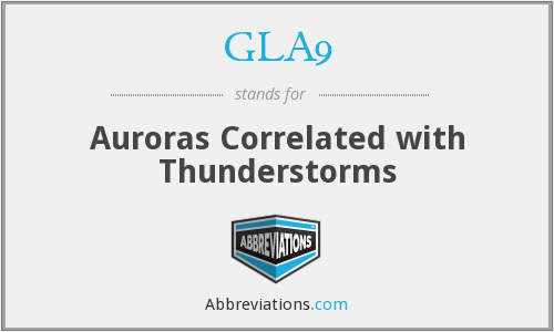 GLA9 - Auroras Correlated with Thunderstorms
