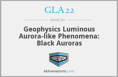 GLA22 - Geophysics Luminous Aurora-like Phenomena: Black Auroras