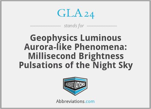GLA24 - Geophysics Luminous Aurora-like Phenomena: Millisecond Brightness Pulsations of the Night Sky