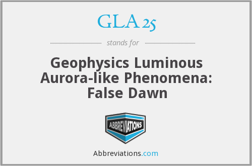 GLA25 - Geophysics Luminous Aurora-like Phenomena: False Dawn