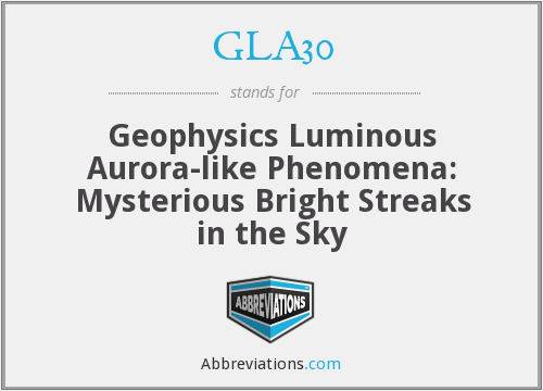 GLA30 - Geophysics Luminous Aurora-like Phenomena: Mysterious Bright Streaks in the Sky