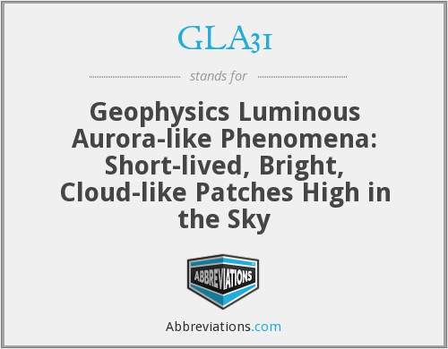 GLA31 - Geophysics Luminous Aurora-like Phenomena: Short-lived, Bright, Cloud-like Patches High in the Sky