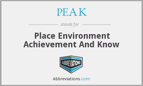 PEAK - Place Environment Achievement And Know