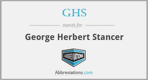GHS - George Herbert Stancer