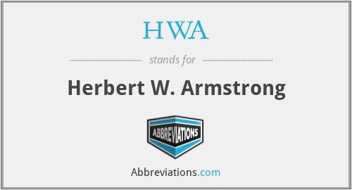 HWA - Herbert W. Armstrong