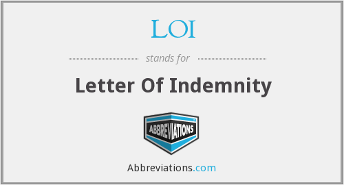 LOI - Letter Of Indemnity