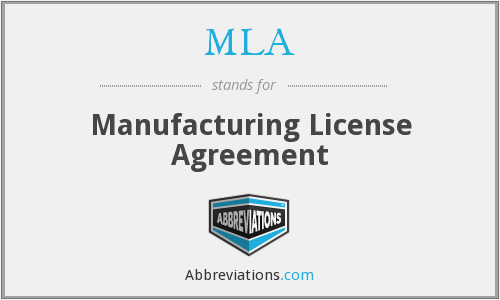 MLA - Manufacturing License Agreement