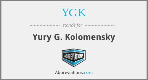 YGK - Yury G. Kolomensky