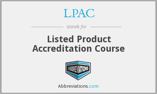 LPAC - Listed Product Accreditation Course