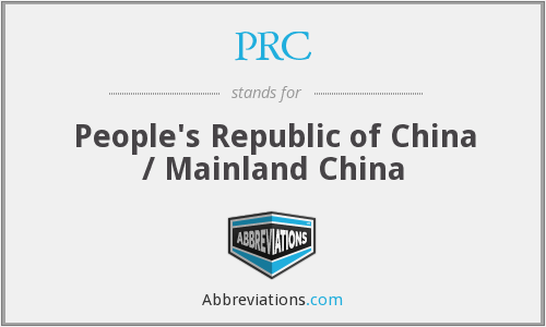 PRC - People's Republic of China / Mainland China