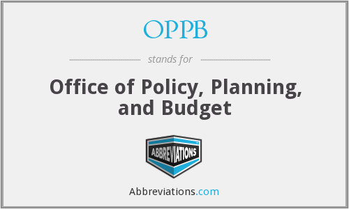 OPPB - Office of Policy, Planning, and Budget