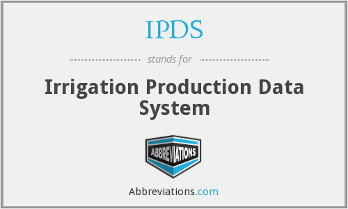 IPDS - Irrigation Production Data System
