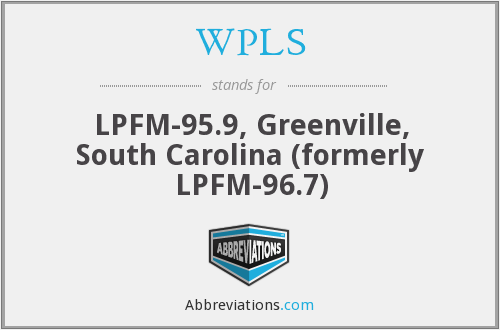 WPLS - LPFM-95.9, Greenville, South Carolina (formerly LPFM-96.7)