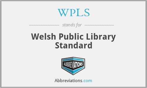 WPLS - Welsh Public Library Standard