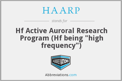 HAARP - Hf Active Auroral Research Program (Hf being