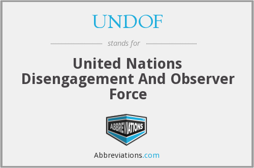 UNDOF - United Nations Disengagement And Observer Force