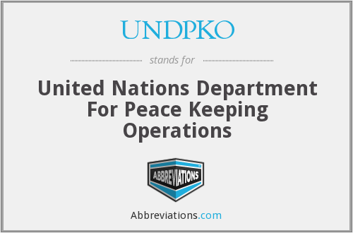 UNDPKO - United Nations Department For Peace Keeping Operations