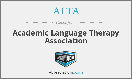ALTA - Academic Language Therapy Association