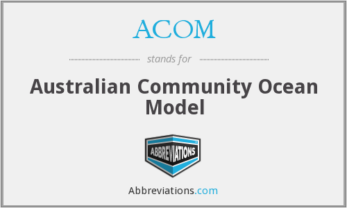 ACOM - Australian Community Ocean Model