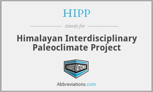 HIPP - Himalayan Interdisciplinary Paleoclimate Project