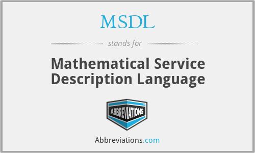 MSDL - Mathematical Service Description Language