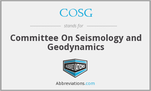 COSG - Committee On Seismology and Geodynamics
