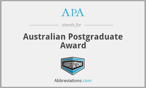 APA - Australian Postgraduate Award