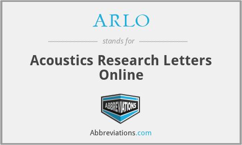 ARLO - Acoustics Research Letters Online