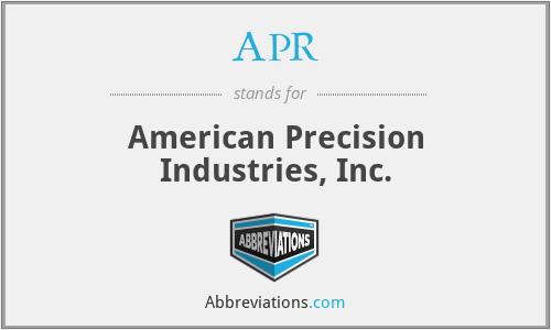 APR - American Precision Industries, Inc.