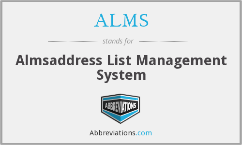 ALMS - Almsaddress List Management System