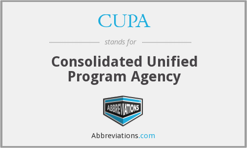 CUPA - Consolidated Unified Program Agency