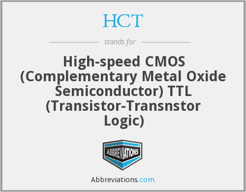 HCT - High-speed CMOS (Complementary Metal Oxide Semiconductor) TTL (Transistor-Transnstor Logic)