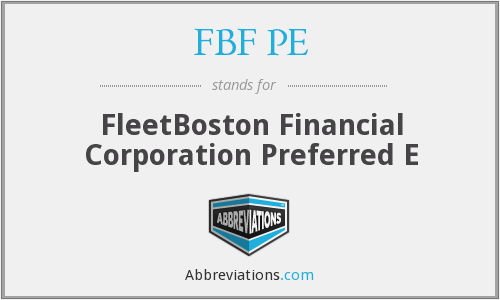 FBF PE - FleetBoston Financial Corporation Preferred E
