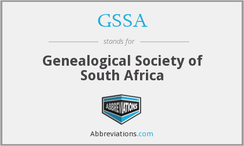GSSA - Genealogical Society of South Africa