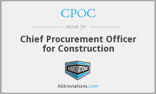CPOC - Chief Procurement Officer for Construction