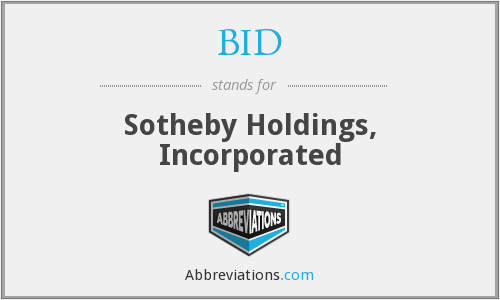 BID - Sotheby Holdings, Incorporated