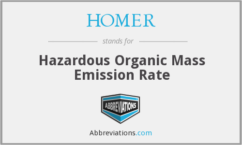 HOMER - Hazardous Organic Mass Emission Rate