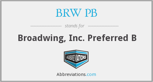 What does BRW PB stand for?