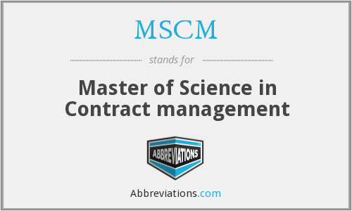 MSCM - Master of Science in Contract management