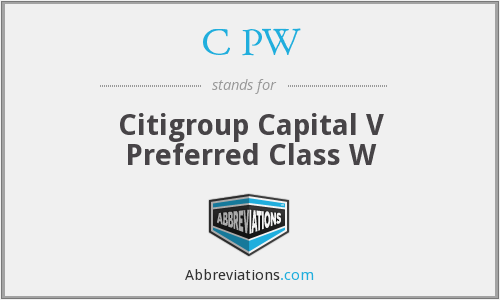C PW - Citigroup Capital V Preferred Class W